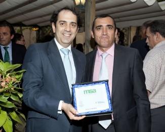 : El Director General de Sanidad de la Producción Agraria del MAGRAMA, Valentín Almansa, con el Director Gerente del Foro Interalimentario, Víctor Yuste