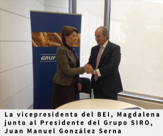 La vicepresidenta del BEI, Magdalena Álvarez, junto al Presidente del Grupo SIRO, Juan Manuel González Serna